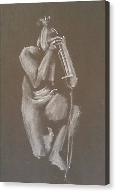 Kroki 2015 06 18_4 Figure Drawing Chinese Sword White Chalk Canvas Print