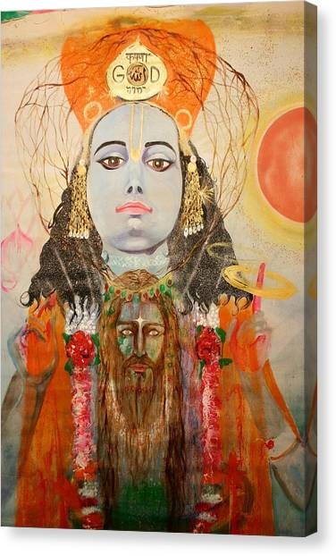 Krsna And Christ Canvas Print