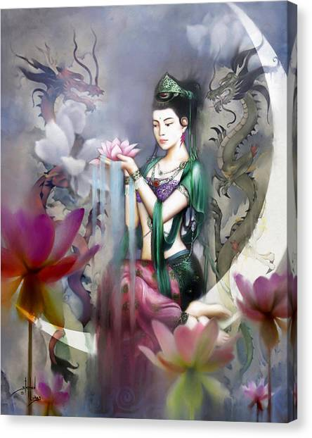 Asian Canvas Print - Kuan Yin Lotus Of Healing by Stephen Lucas