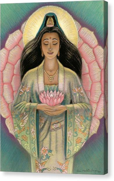 Buddhist Canvas Print - Kuan Yin Pink Lotus Heart by Sue Halstenberg