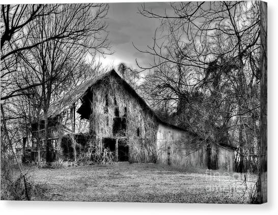 Canvas Print featuring the photograph Kudzu Covered Barn In The Mississippi Delta by T Lowry Wilson
