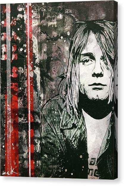 Pearl Jam Canvas Print - Kurt by Bobby Zeik