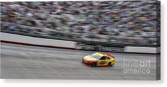 Kurt Busch Canvas Print - Kurt Busch In Car 22 At Bristol Motor Speedway During Nascar Spr by David Oppenheimer