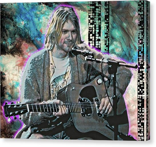 Pearl Jam Canvas Print - Kurt Cobain - Come As You Are by Bobby Zeik