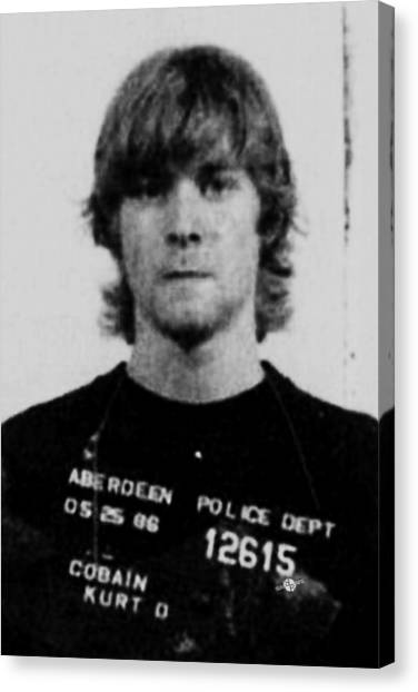 Kurt Cobain Mug Shot Vertical Black And Gray Grey Canvas Print