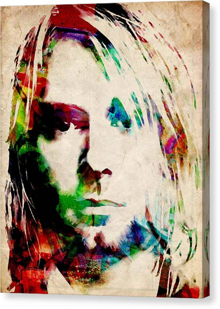 Nirvana Canvas Print - Kurt Cobain Urban Watercolor by Michael Tompsett