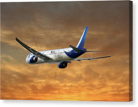 Kuwait Canvas Print - Kuwait Airways Boeing 777-369 2 by Smart Aviation