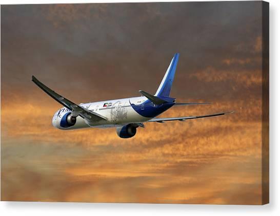 Kuwait Canvas Print - Kuwait Airways Boeing 777-369 3 by Smart Aviation