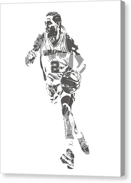 Spurs Canvas Print - Kwahi Leonard San Antonio Spurs Pixel Art 40 by Joe Hamilton