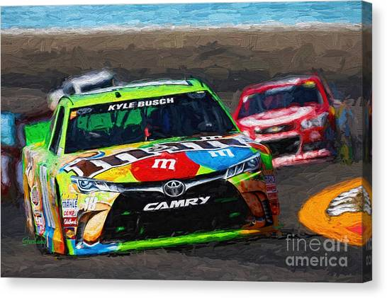Kyle Busch Canvas Print - Kyle Busch At Watkins Glen.  by Garland Johnson