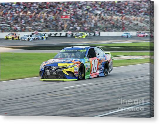 Kyle Busch Canvas Print - Kyle Busch Coming In For A Pit Stop At Texas Motor Speedway by Paul Quinn