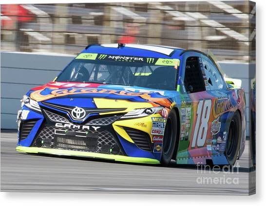Kyle Busch Canvas Print - Kyle Busch Coming Out Of Turn 1 by Paul Quinn
