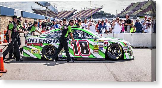 Kyle Busch Canvas Print - Kyle Busch Crew And Car by Alex Cianfarani