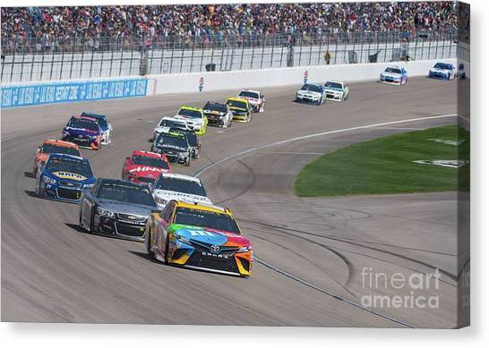 Kyle Busch Canvas Print - Kyle Busch In The Lead by Debbie D Anthony