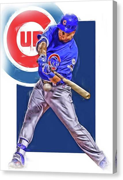Chicago Cubs Canvas Print - Kyle Schwarber Chicago Cubs Oil Art by Joe Hamilton