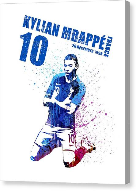 Andres Iniesta Canvas Print - Kylian Mbappe Painting #france by Art Popop