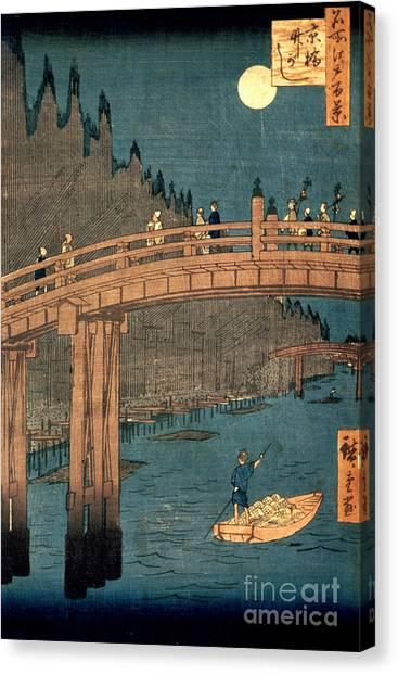 Bamboo Canvas Print - Kyoto Bridge By Moonlight by Hiroshige