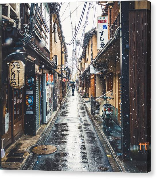 Snow Canvas Print - Kyoto Snow Day by Cory Dewald