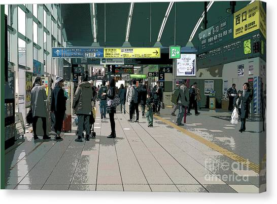 Bullet Trains Canvas Print - Kyoto Station, Japan Poster 2 by Perry Rodriguez