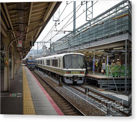 Bullet Trains Canvas Print - Kyoto To Osaka Train Station, Japan by Perry Rodriguez