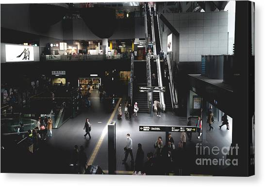 Bullet Trains Canvas Print - Kyoto Train Station, Japan 2 by Perry Rodriguez