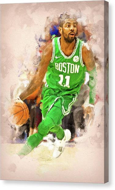 Kyrie Irving Canvas Print - Kyrie Irving, Boston Celtics - 01 by Andrea Mazzocchetti