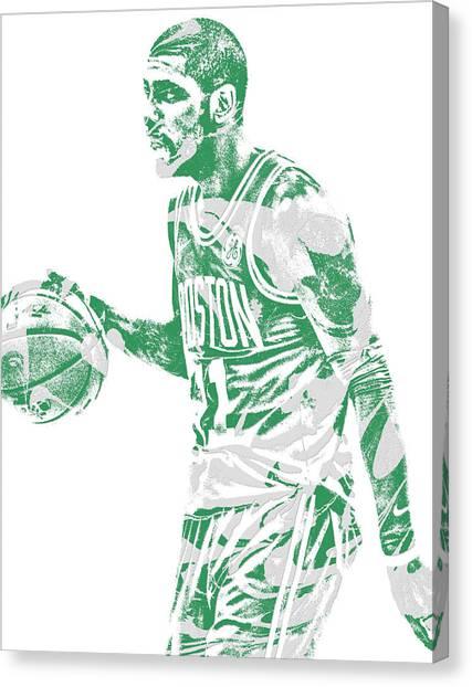 Boston Celtics Canvas Print - Kyrie Irving Boston Celtics Pixel Art 40 by Joe Hamilton