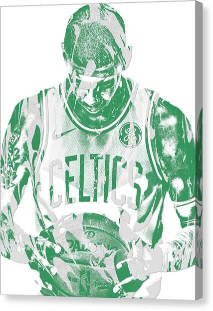 Celtic Art Canvas Print - Kyrie Irving Boston Celtics Pixel Art 5 by Joe Hamilton