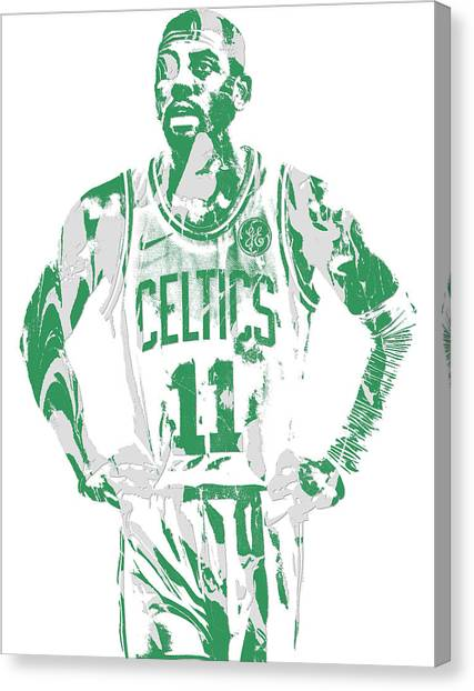 Kyrie Irving Canvas Print - Kyrie Irving Boston Celtics Pixel Art 8 by Joe Hamilton