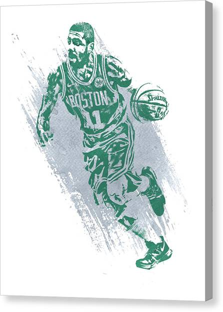 Kyrie Irving Canvas Print - Kyrie Irving Boston Celtics Water Color Art 2 by Joe Hamilton