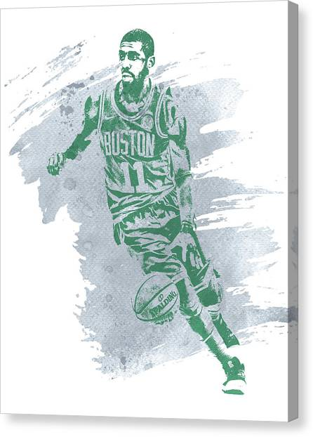 Kyrie Irving Canvas Print - Kyrie Irving Boston Celtics Water Color Art 3 by Joe Hamilton