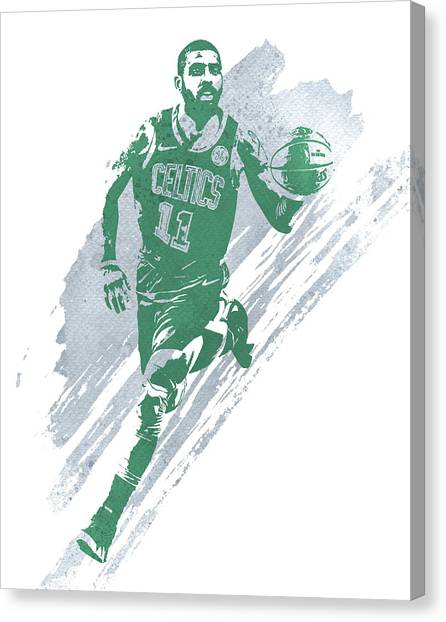 Kyrie Irving Canvas Print - Kyrie Irving Boston Celtics Water Color Art 4 by Joe Hamilton