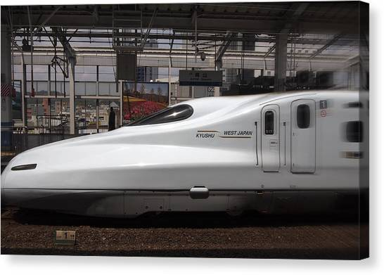 Bullet Trains Canvas Print - Kyushu Bullet Train Locomotive by Daniel Hagerman