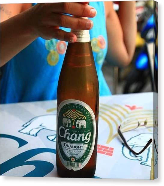 Liquor Canvas Print - #öl #beer #chang  #beerchang #thailand by Kenneth Jensen
