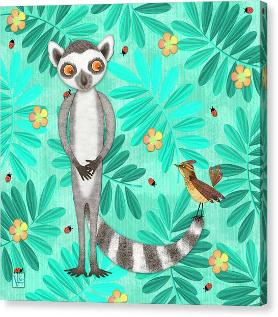 L Is For Lemur And Lark Canvas Print