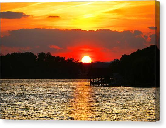 Bloody Red Sunset Smith Mountain Lake Canvas Print