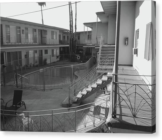 Los Angeles Canvas Print - La Apartment Pool - Black And White by Jason Freedman