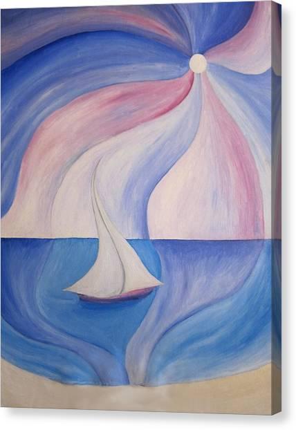 La Barca A Vela Canvas Print by Alberto V  Donati
