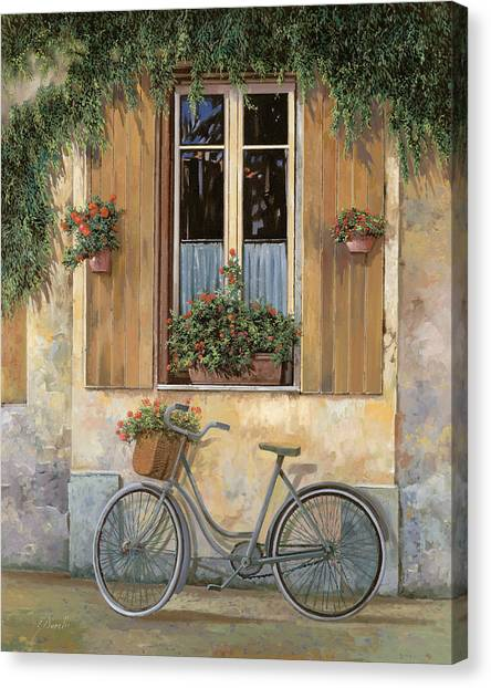 Street Scenes Canvas Print - La Bici by Guido Borelli