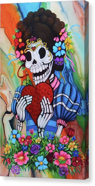 Dia Del Muerto Canvas Print - La Catrinita by Angel Ortiz