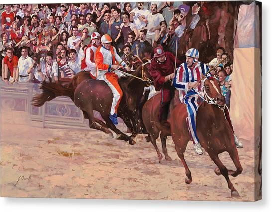 Canvas Print - La Corsa Del Palio by Guido Borelli