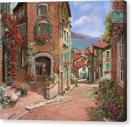 Villages Canvas Print - La Discesa Al Mare by Guido Borelli