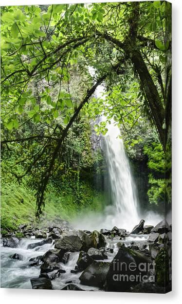 Arenal Volcano Canvas Print - La Fortuna Waterfall by Oscar Gutierrez