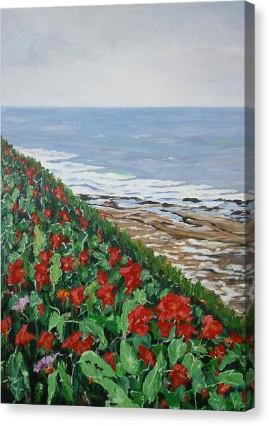 Canvas Print featuring the painting La Jolla Beach, San Diego by Ray Khalife