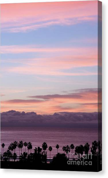 Palm Trees Sunsets Canvas Print - La Jolla Shores In California by Julia Hiebaum
