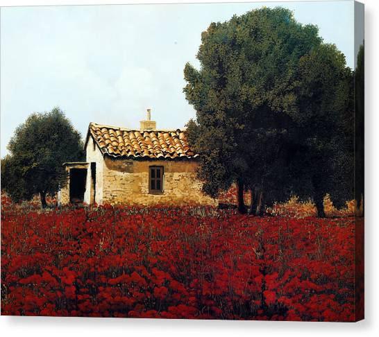 Wine Country Canvas Print - La Masseria Tra I Papaveri by Guido Borelli