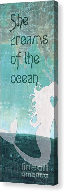 Mythological Creatures Canvas Print - La Mer Mermaid 1 by Debbie DeWitt