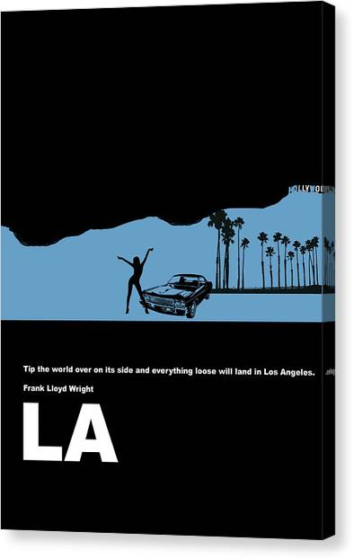 Cities Canvas Print - La Night Poster by Naxart Studio