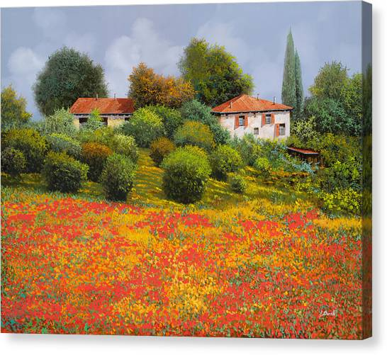 Cypress Canvas Print - La Nuova Estate by Guido Borelli