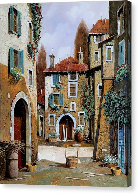 Basket Canvas Print - La Piazzetta by Guido Borelli